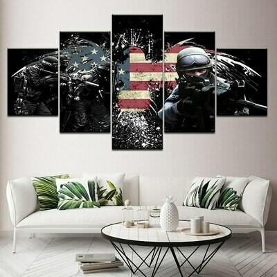 Eagle American Flag Soldiers Hd - 5 Panel Canvas Print Wall Art Set
