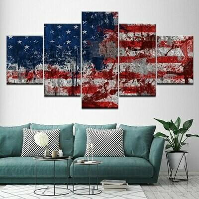 Modular American Flag - 5 Panel Canvas Print Wall Art Set