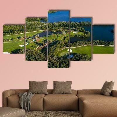 Aerial Golf Course Landscape - 5 Panel Canvas Print Wall Art Set