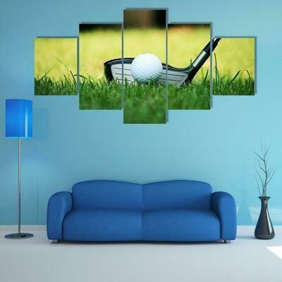 Golf Ball Close Up - 5 Panel Canvas Print Wall Art Set