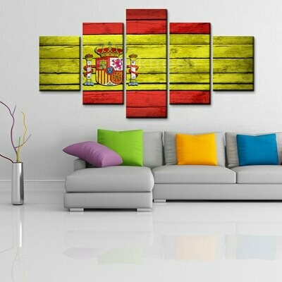 Spanish Flag - 5 Panel Canvas Print Wall Art Set