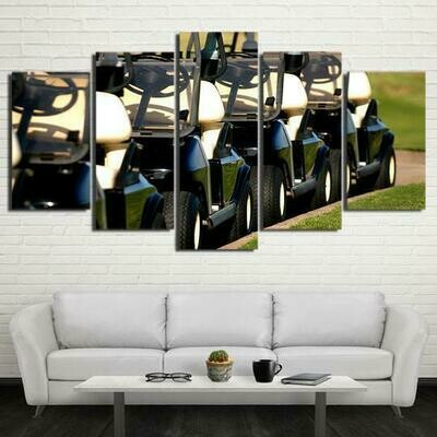 Golf Carts - 5 Panel Canvas Print Wall Art Set