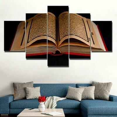 Koran Islamic Scriptures Religion Islam Quran Book - 5 Panel Canvas Print Wall Art Set