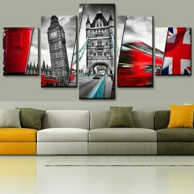 UK Flag And Architectural - 5 Panel Canvas Print Wall Art Set