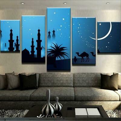 Islamic Celebration - 5 Panel Canvas Print Wall Art Set
