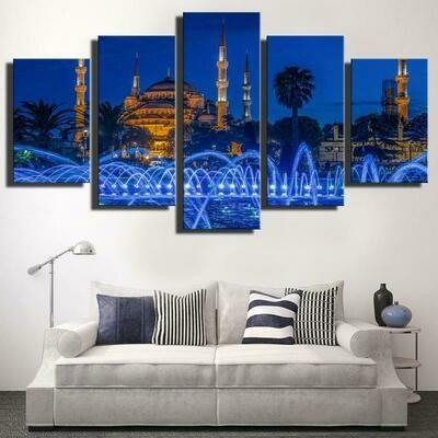 Islamic Churches Mosque And Fountain - 5 Panel Canvas Print Wall Art Set