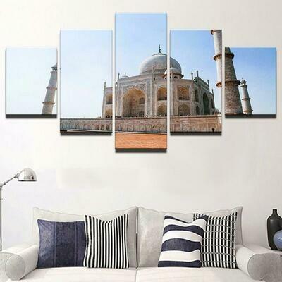 Islamic Muslims Buildin - 5 Panel Canvas Print Wall Art Set