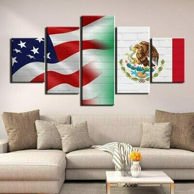 National Flag - 5 Panel Canvas Print Wall Art Set