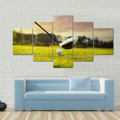 Golf Ball On Tee - 5 Panel Canvas Print Wall Art Set