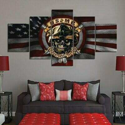 Skull On American Flag - 5 Panel Canvas Print Wall Art Set