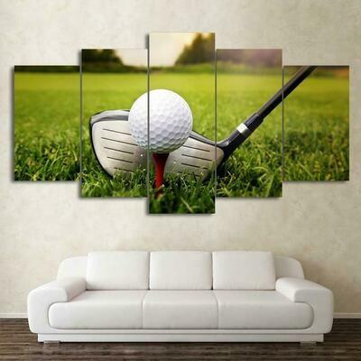 Golf Course Clubs - 5 Panel Canvas Print Wall Art Set