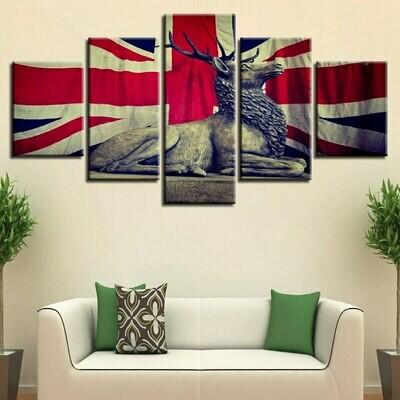UK Flag And Deer - 5 Panel Canvas Print Wall Art Set