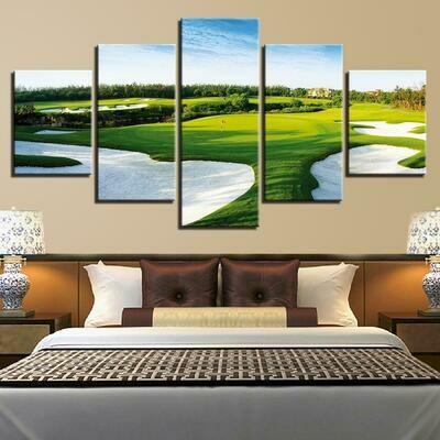 Golf Course Landscape - 5 Panel Canvas Print Wall Art Set
