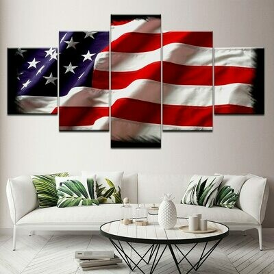 Usa American Flag - 5 Panel Canvas Print Wall Art Set