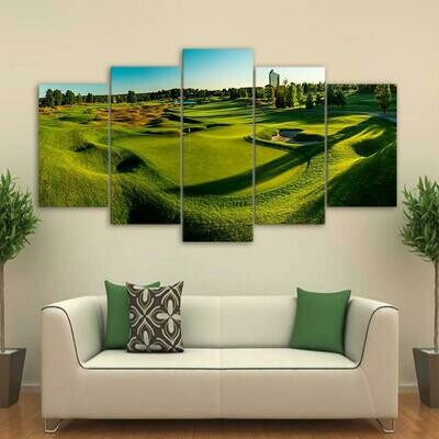 Golf Course Landscape View - 5 Panel Canvas Print Wall Art Set