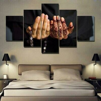The Hand Of The Islamic Soul - 5 Panel Canvas Print Wall Art Set