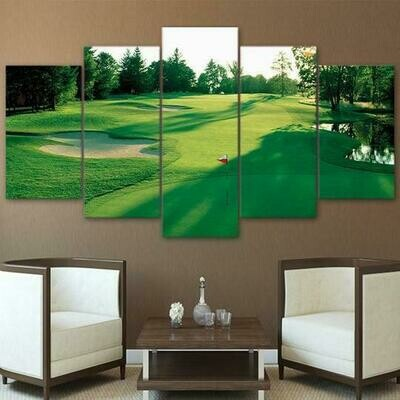 Golf Course Morning Golfing - 5 Panel Canvas Print Wall Art Set