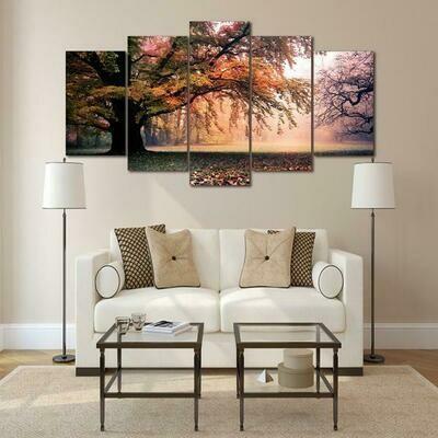 Autumn Tree Forest - 5 Panel Canvas Print Wall Art Set