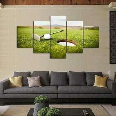 Golf Green View - 5 Panel Canvas Print Wall Art Set