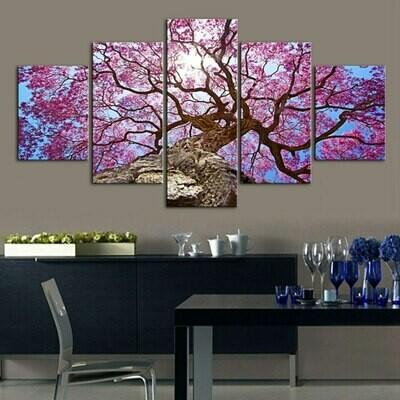 Beautiful Pink Cherry Tree - 5 Panel Canvas Print Wall Art Set