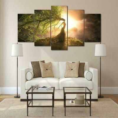 Beautiful Tree Wizard - 5 Panel Canvas Print Wall Art Set