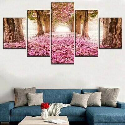 Blossom Park Sakura Tree - 5 Panel Canvas Print Wall Art Set