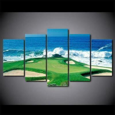 Golfing Golf Course Green - 5 Panel Canvas Print Wall Art Set