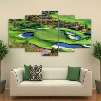 Green Golf Course - 5 Panel Canvas Print Wall Art Set