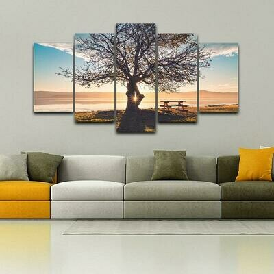 Blue Sky Tree Silhouette - 5 Panel Canvas Print Wall Art Set