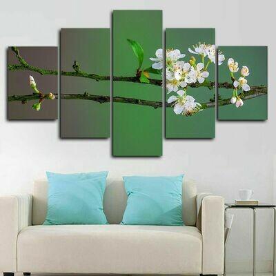 Blossom Tree Branch Spring - 5 Panel Canvas Print Wall Art Set