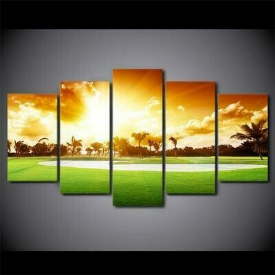 Golfing In Hawaii - 5 Panel Canvas Print Wall Art Set