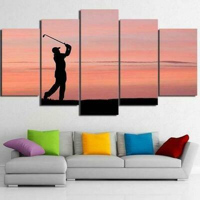 Human Play Golf - 5 Panel Canvas Print Wall Art Set