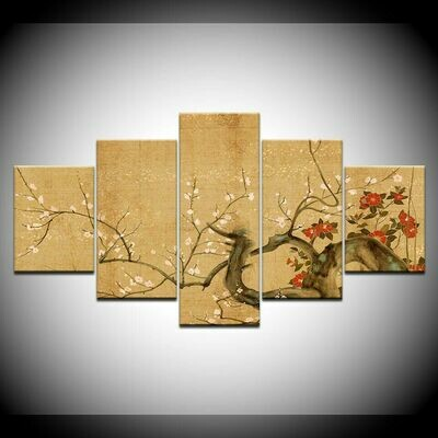 Chinese Style Tree Flowers - 5 Panel Canvas Print Wall Art Set