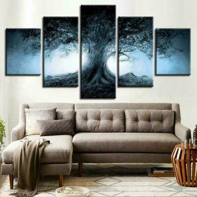 Dark Forest Magical Tree - 5 Panel Canvas Print Wall Art Set