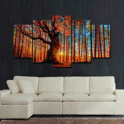 Forest Sky Trees - 5 Panel Canvas Print Wall Art Set
