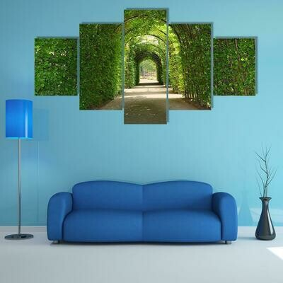 Green Tunnel Of Trees In Netherlands - 5 Panel Canvas Print Wall Art Set