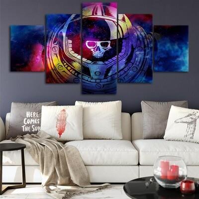 Abstract Astronaut Skull - 5 Panel Canvas Print Wall Art Set