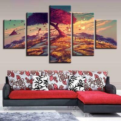 Kite Red Tree Sunset - 5 Panel Canvas Print Wall Art Set