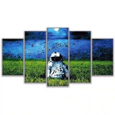 Astronaut In Grassy Field- 5 Panel Canvas Print Wall Art Set