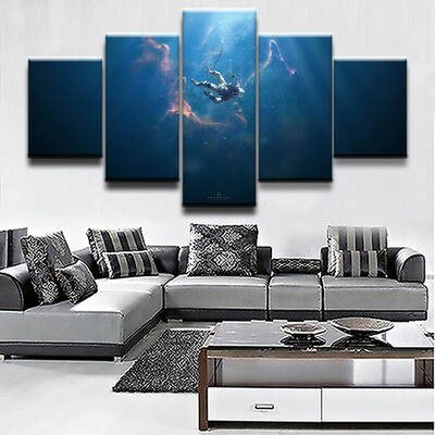 Astronaut Sci Fi Space - 5 Panel Canvas Print Wall Art Set