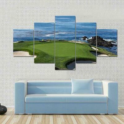 Pebble Beach Golf Nature - 5 Panel Canvas Print Wall Art Set