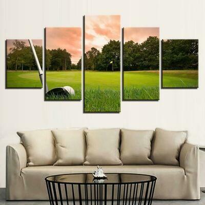 Sunset Golf Course - 5 Panel Canvas Print Wall Art Set