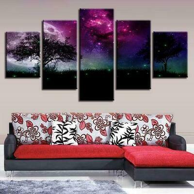 Moon Tree Night View - 5 Panel Canvas Print Wall Art Set