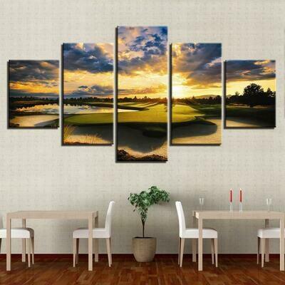 Sunset Golf Course Hd Nature - 5 Panel Canvas Print Wall Art Set