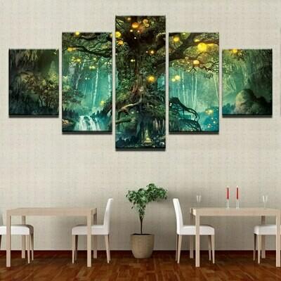 Enchanted Tree Scenery - 5 Panel Canvas Print Wall Art Set