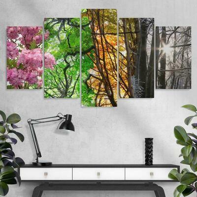 Four Season Tree - 5 Panel Canvas Print Wall Art Set