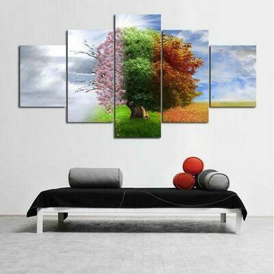 Four Seasons Tree - 5 Panel Canvas Print Wall Art Set