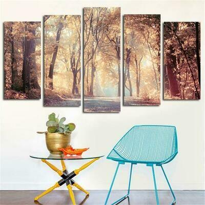 Glowing Morning Tree - 5 Panel Canvas Print Wall Art Set