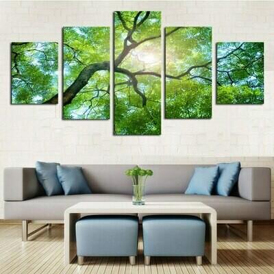 Green Trees - 5 Panel Canvas Print Wall Art Set