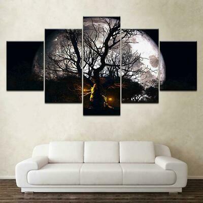 Halloween Haunted Tree Full Moon - 5 Panel Canvas Print Wall Art Set